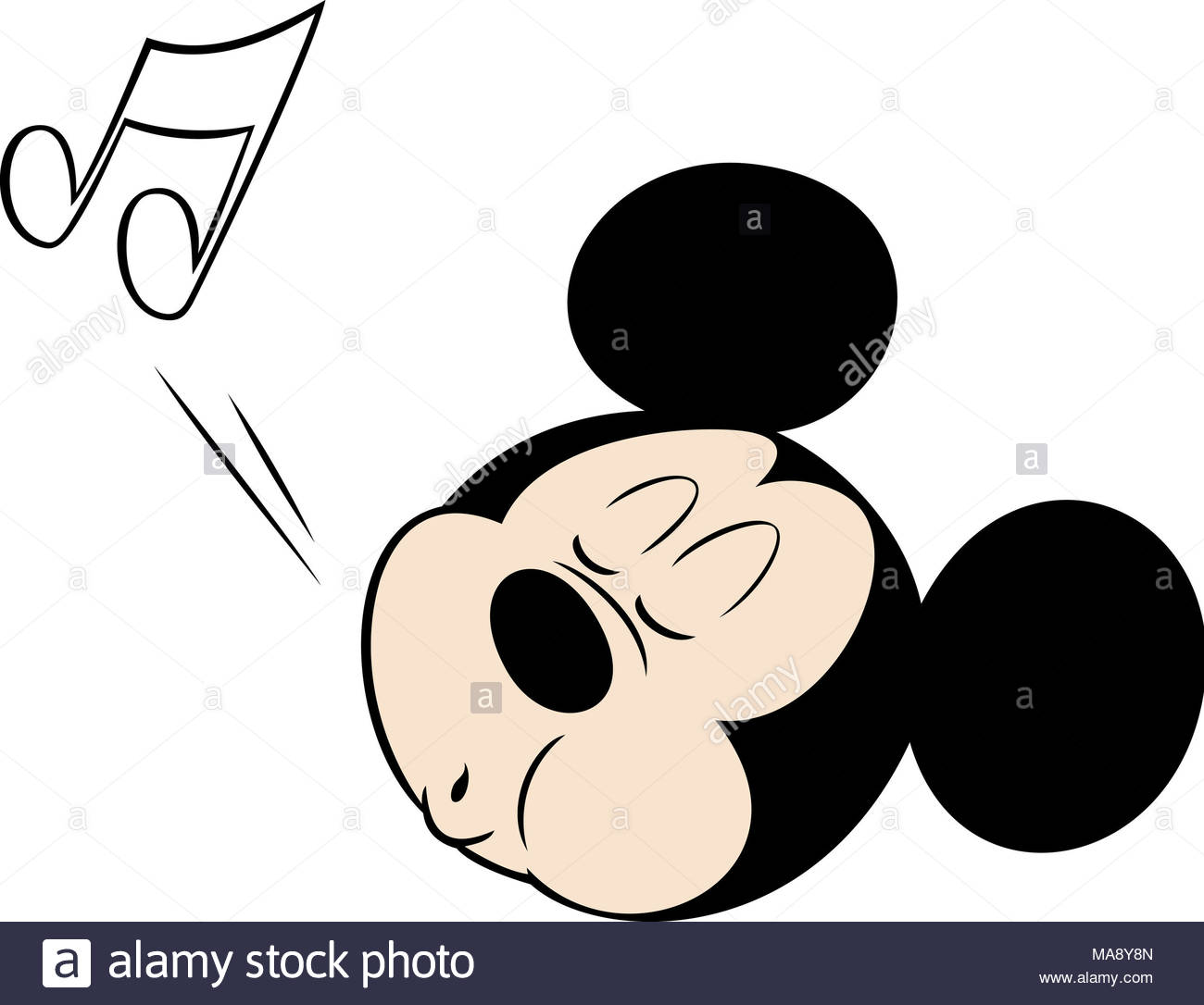 Mickey Mouse Head Character Cartoon Whistling Illustration Stock