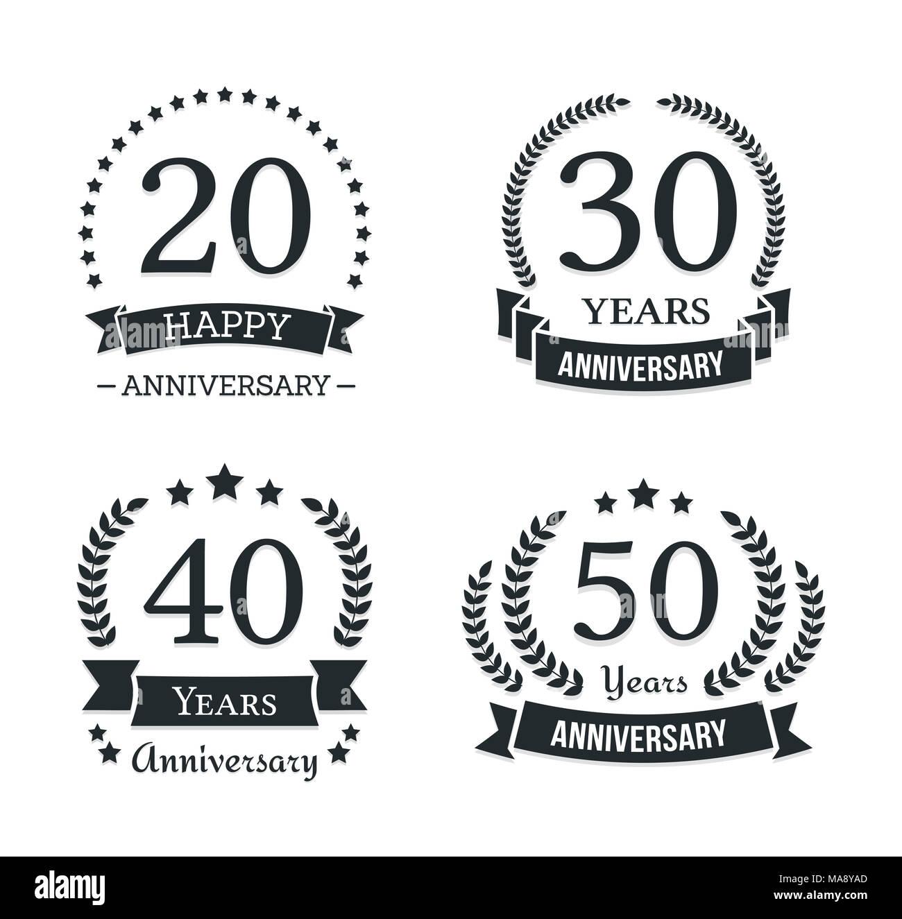 4 different anniversary logo templates anniversary emblems vector