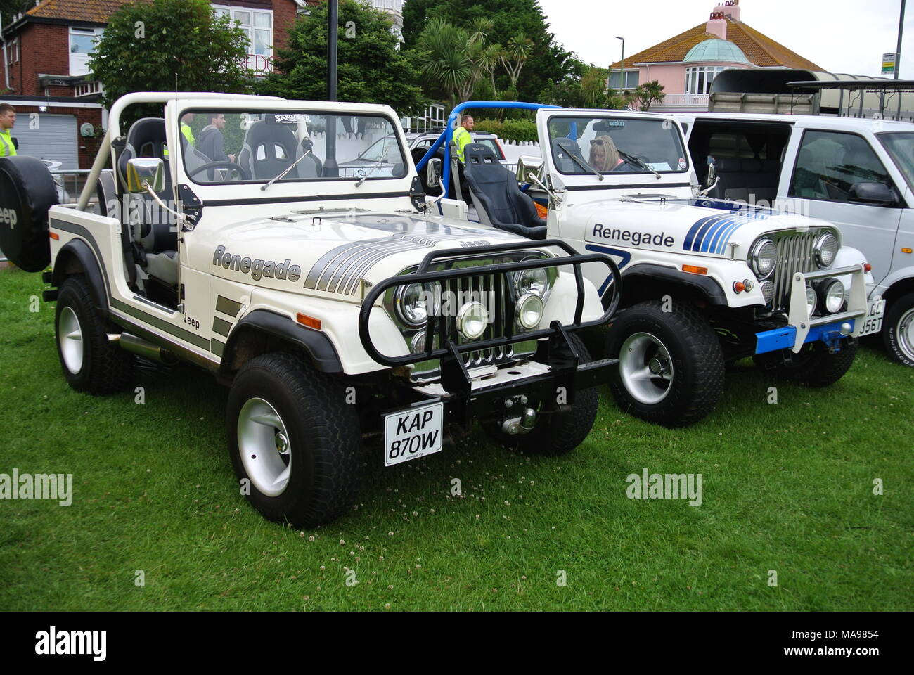Pair Of Jeep CJ Renegades Parked On Display At English Riviera - Jeep car show near me