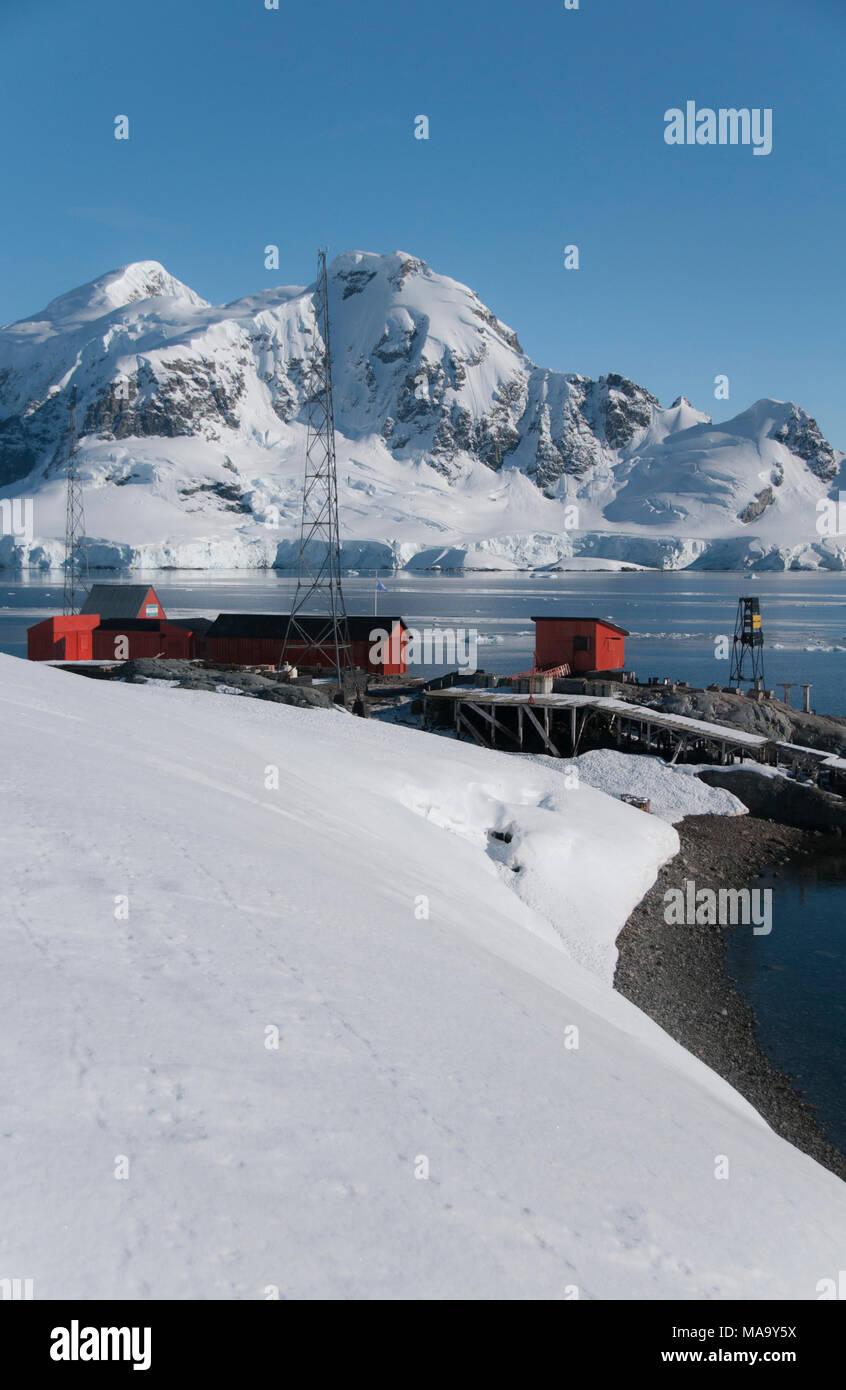 Research base at Paradise Bay, Antarctica - Stock Image