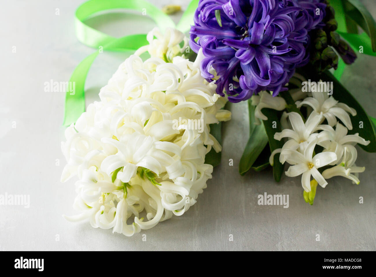 Bouquet of hyacinth flower on stone background or slate spring bouquet of hyacinth flower on stone background or slate spring flowers background top view flat lay background izmirmasajfo