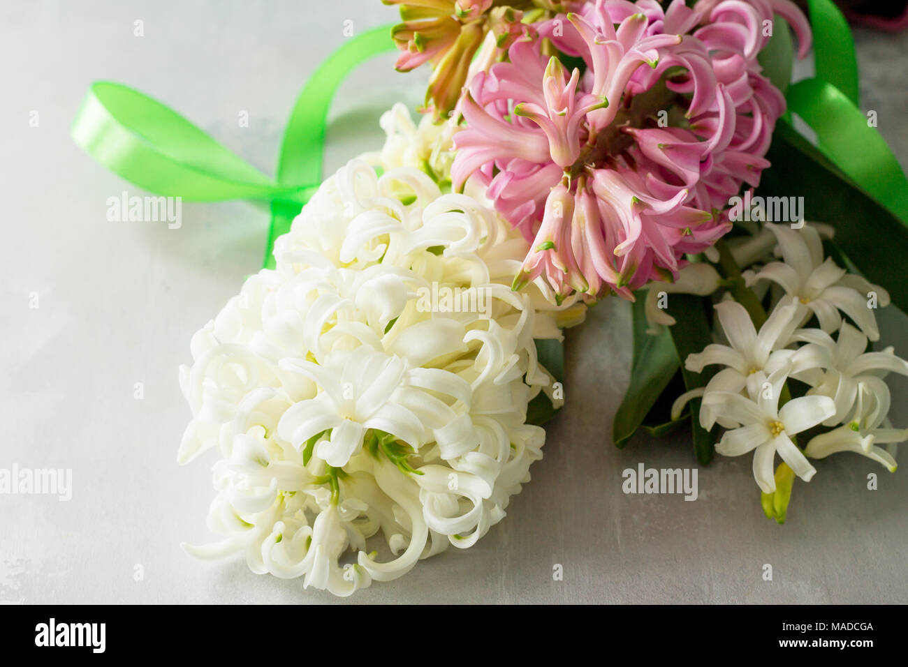 Bouquet Of Hyacinth Flower On Stone Background Or Slate Spring