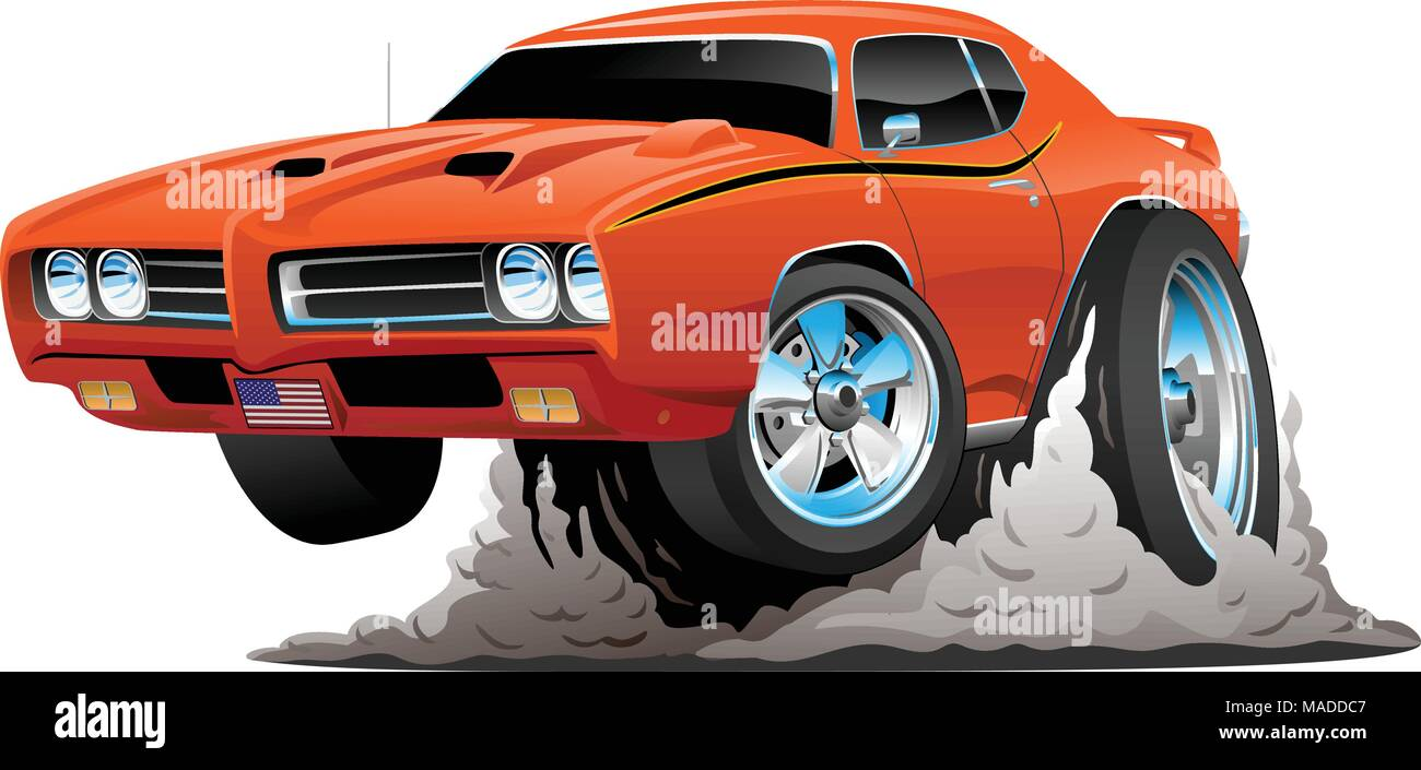 Classic American Muscle Car Cartoon Vector Illustration Stock Vector
