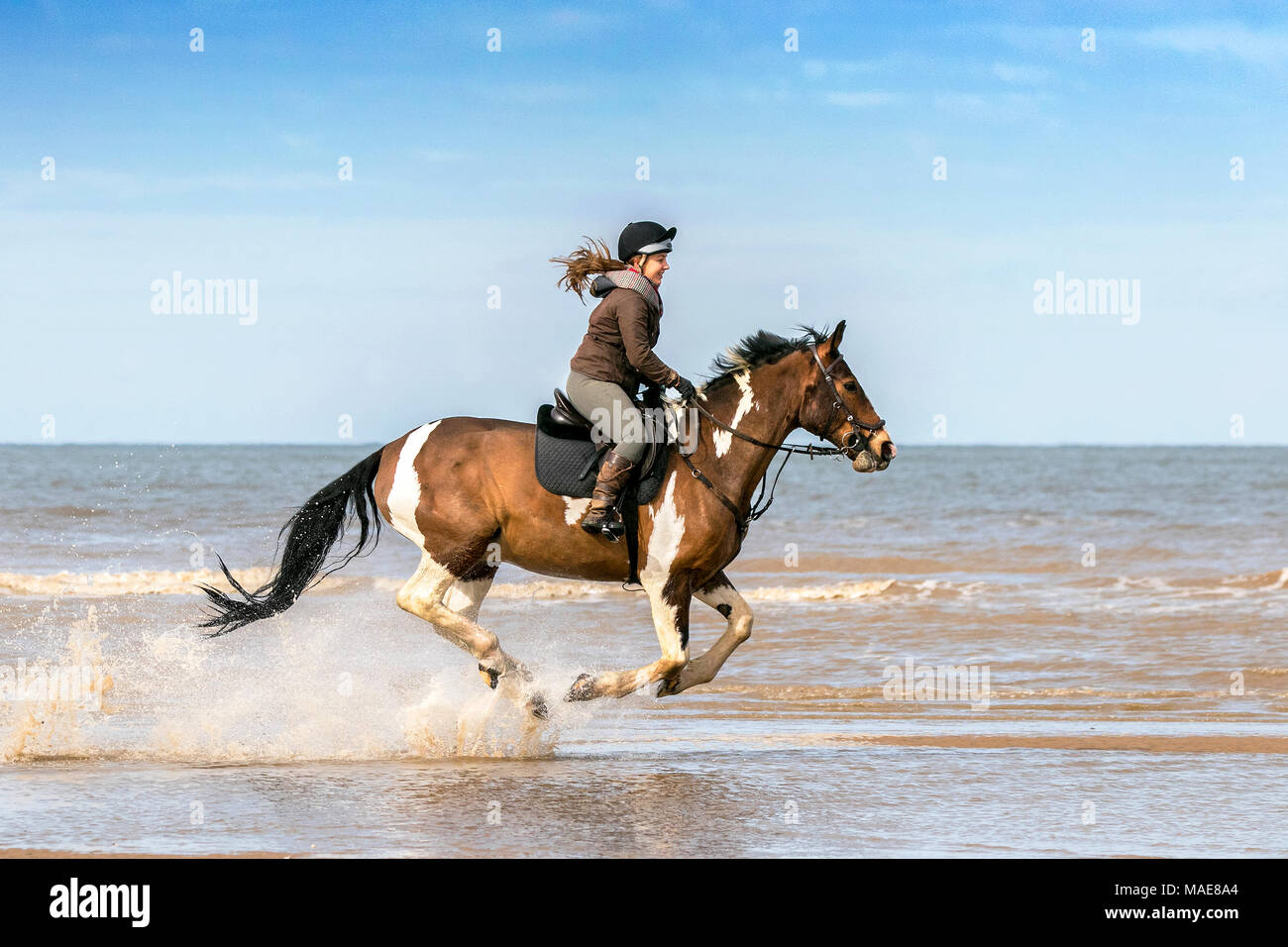 Horse Riding on Ainsdale Beach, Southport, Merseyside. 1st April 2018.  Bright Easter sunshine and blue skies are perfect weather conditions for Zoe Naysmith to take her beloved horse, 15 year old Casper, for a gallop along the golden sands & the the incoming tide on Ainsdale beach in Southport, Merseyside. Credit: Cernan Elias/Alamy Live News - Stock Image
