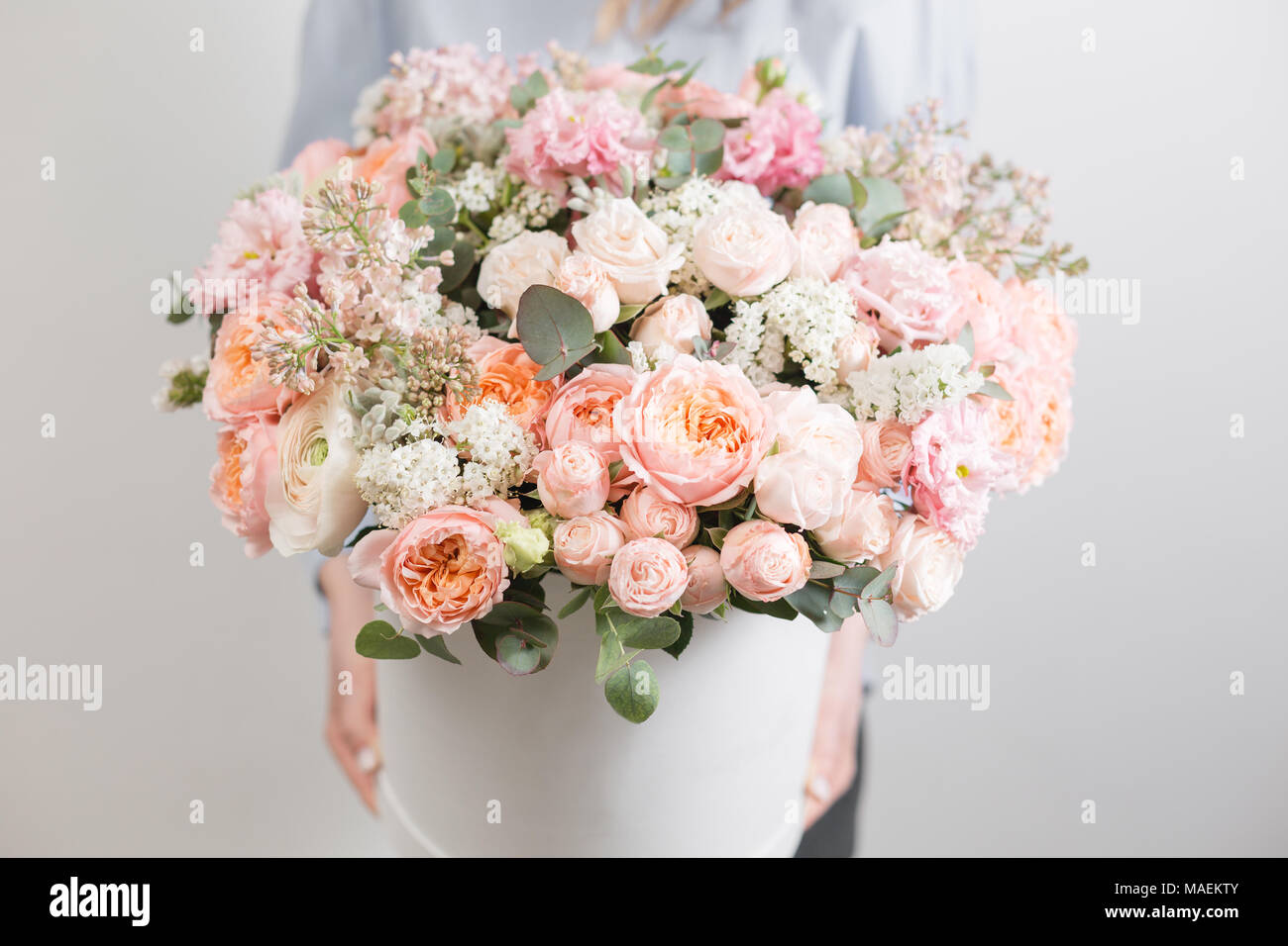 Flowers Set Beautiful Luxury Bouquet In Woman Hand The Work Of The