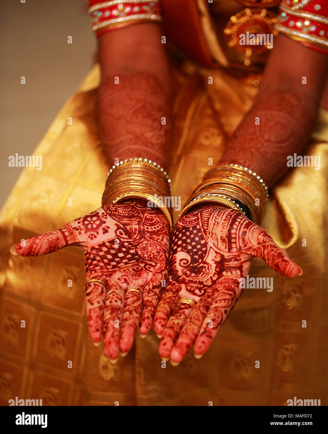 Hands Painted With Henna Close Up Indian Wedding Ceremony Stock