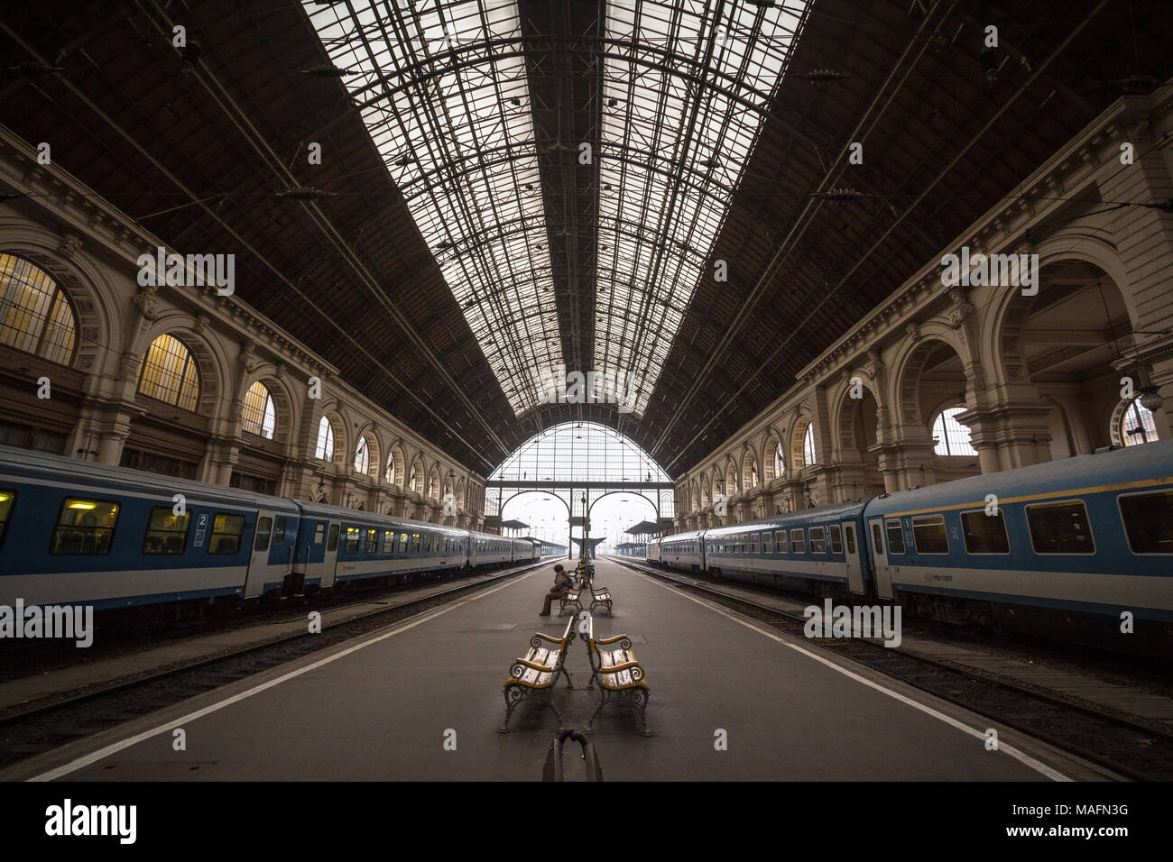 BUDAPEST, HUNGARY - DECEMBER 18, 2016: Trains departing from Budapest Keleti Palyaudvar train station. This station is the biggest of Hungary,  and a  - Stock Image