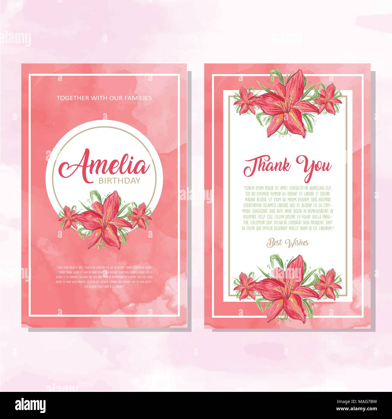 colorful invitation greetings card with ornaments and flowers stock