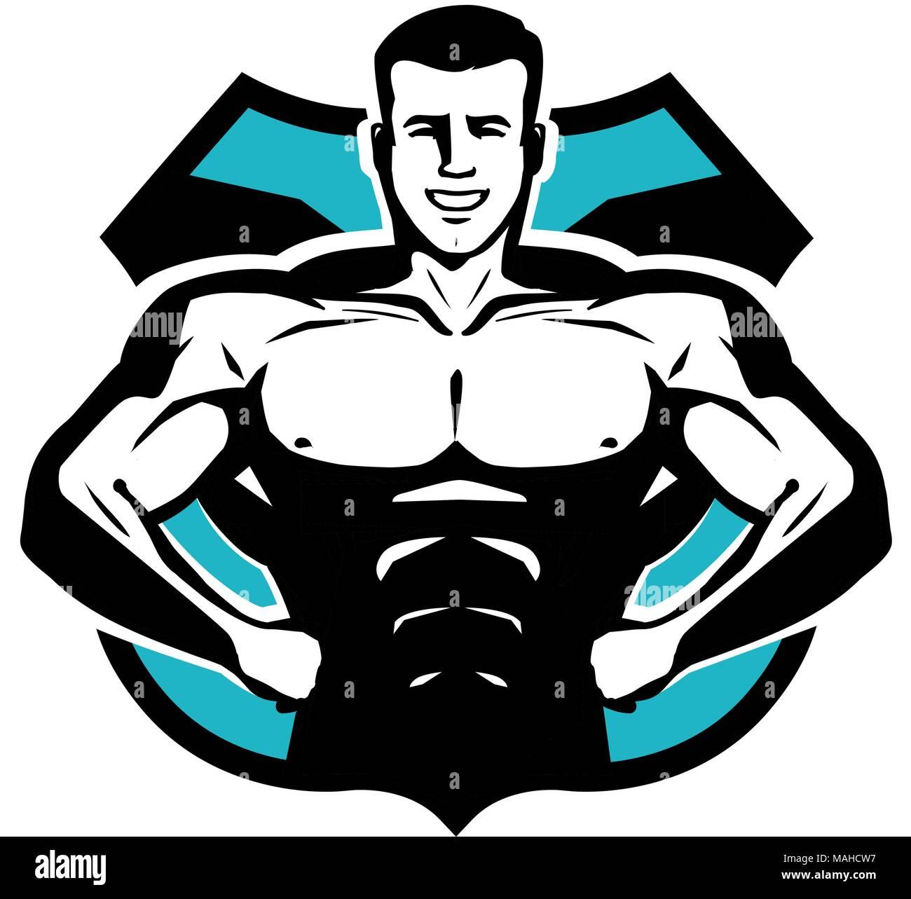 Gym Bodybuilding Sport Logo Or Label Happy Bodybuilder With