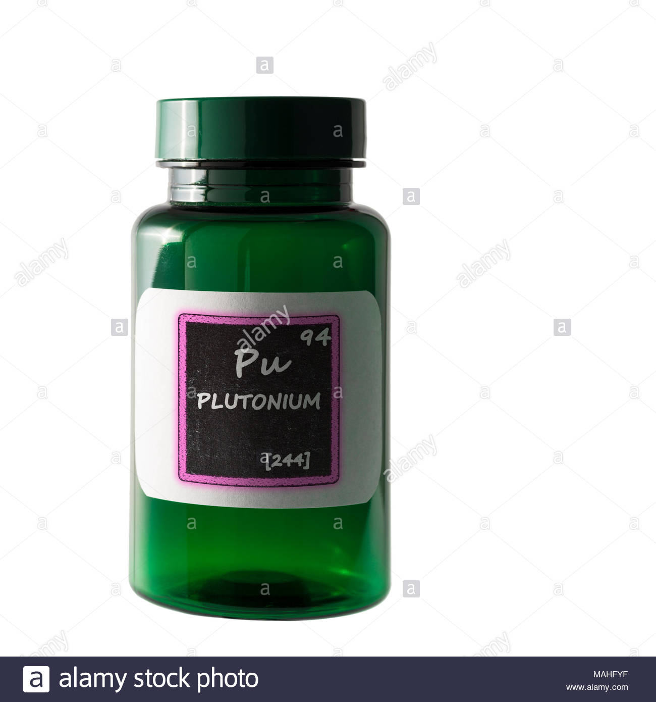 Plutonium Periodic Table Details Shown On Bottle Label Stock Photo