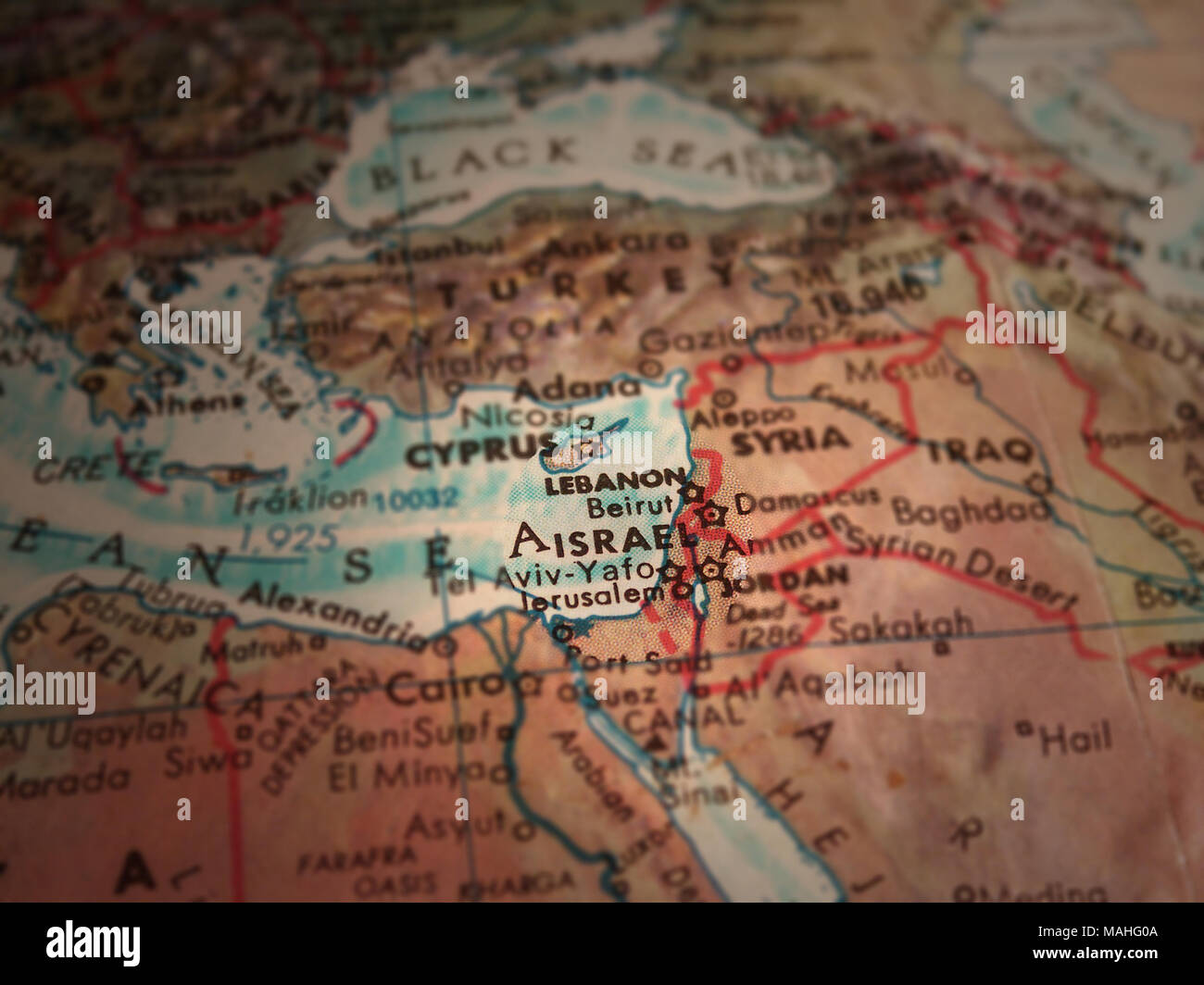 Middle east map. Israel in focus Stock Photo: 178635978 - Alamy