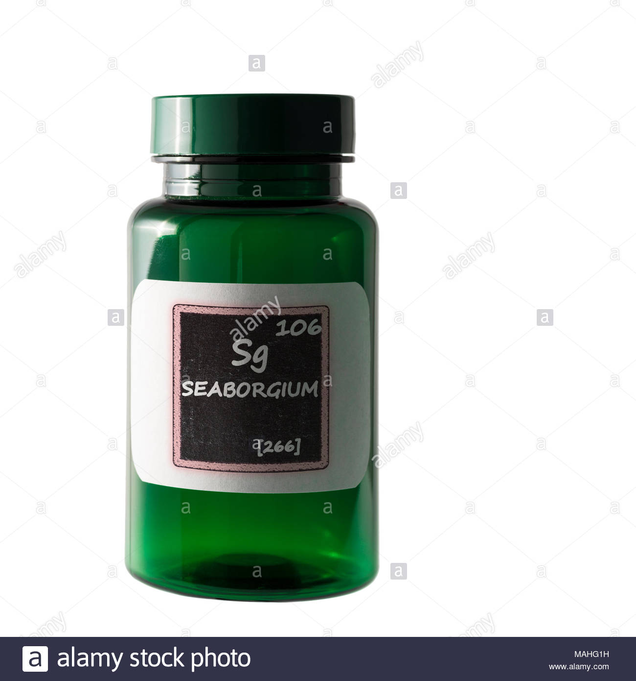 Seaborgium Periodic Table Details Shown On Bottle Label Stock Photo
