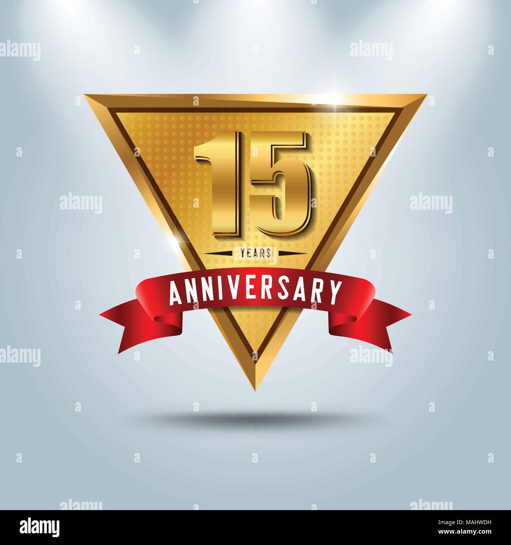 15 Years Anniversary Celebration Logotype Golden Anniversary Emblem