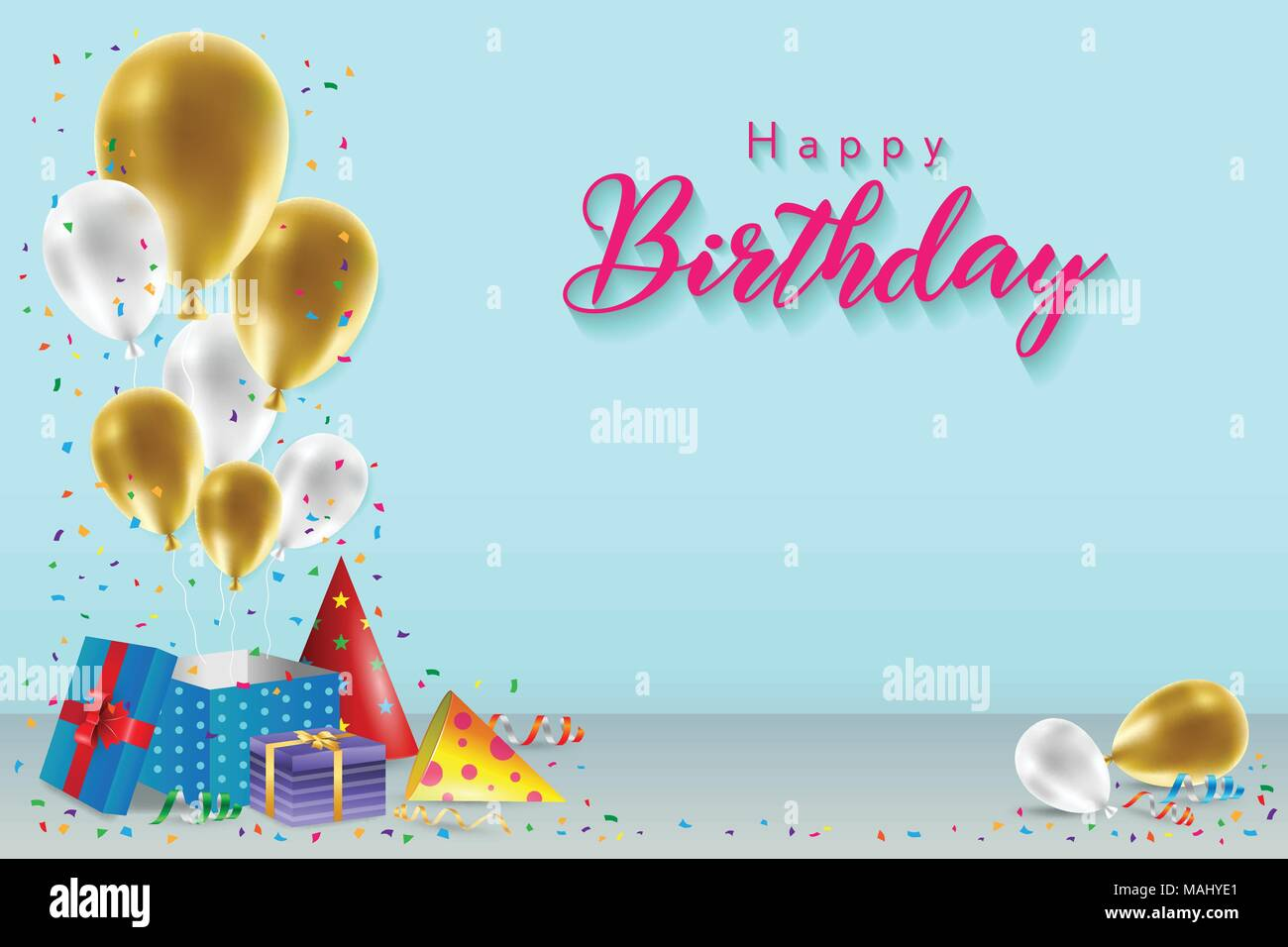 Happy Birthday Background Template With Balloons Gift Boxes And