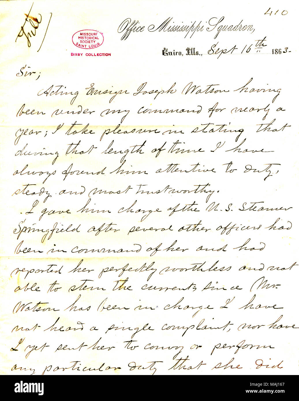 recommendation for promotion of acting ensign joseph watson to acting master title letter from leroy fitch office mississippi squadron cairo illinois