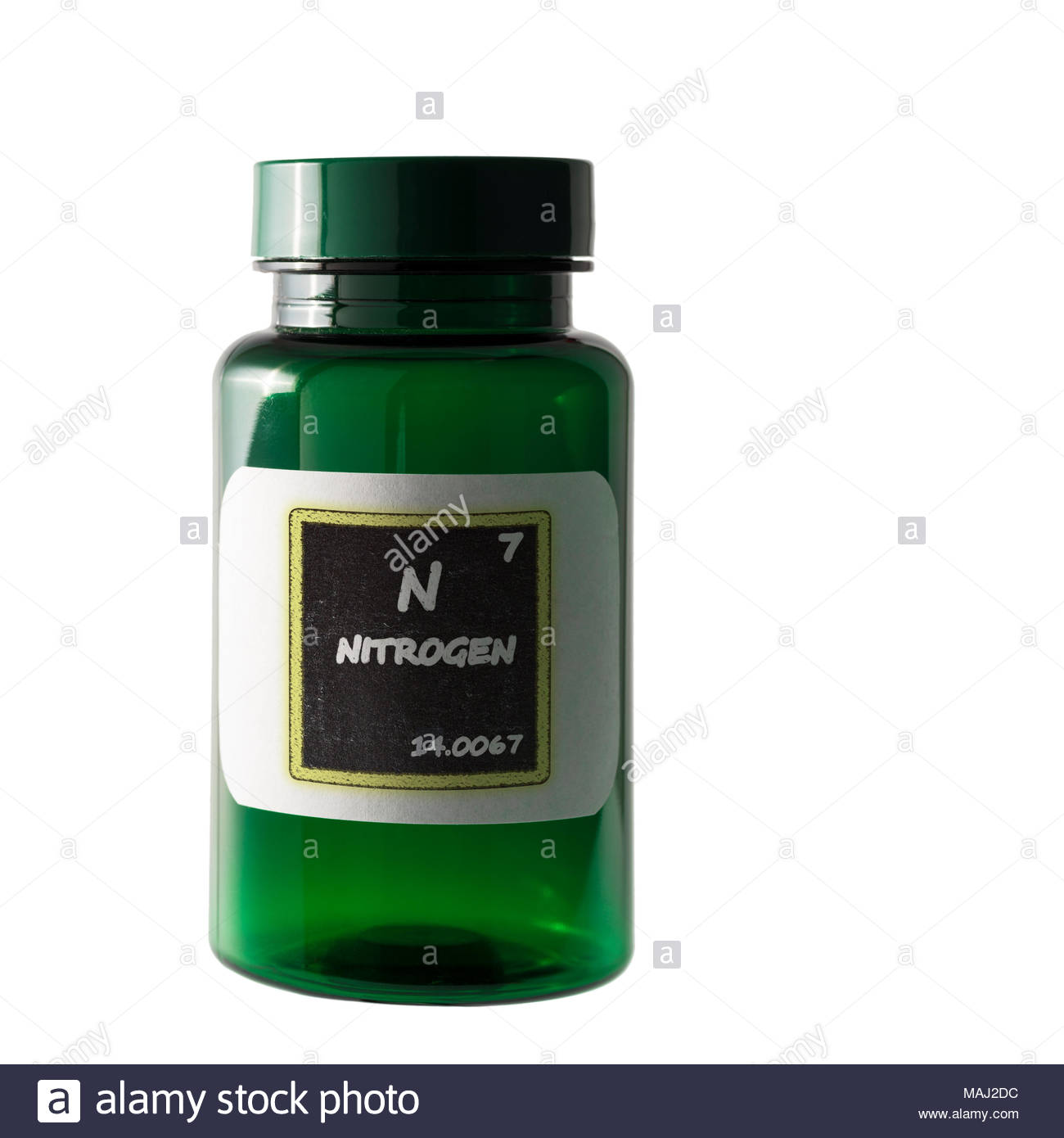 Nitrogen Periodic Table Details Shown On Bottle Label Stock Photo