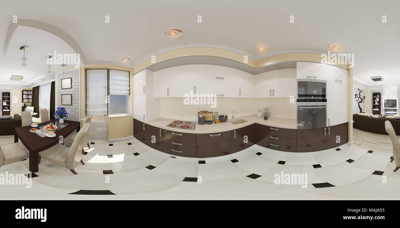 3d Illustration Spherical 360 Degrees Seamless Panorama Of Kitchen