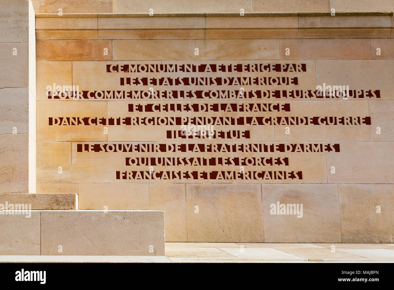 The Château-Thierry American Monument - dedication in French - Stock Image