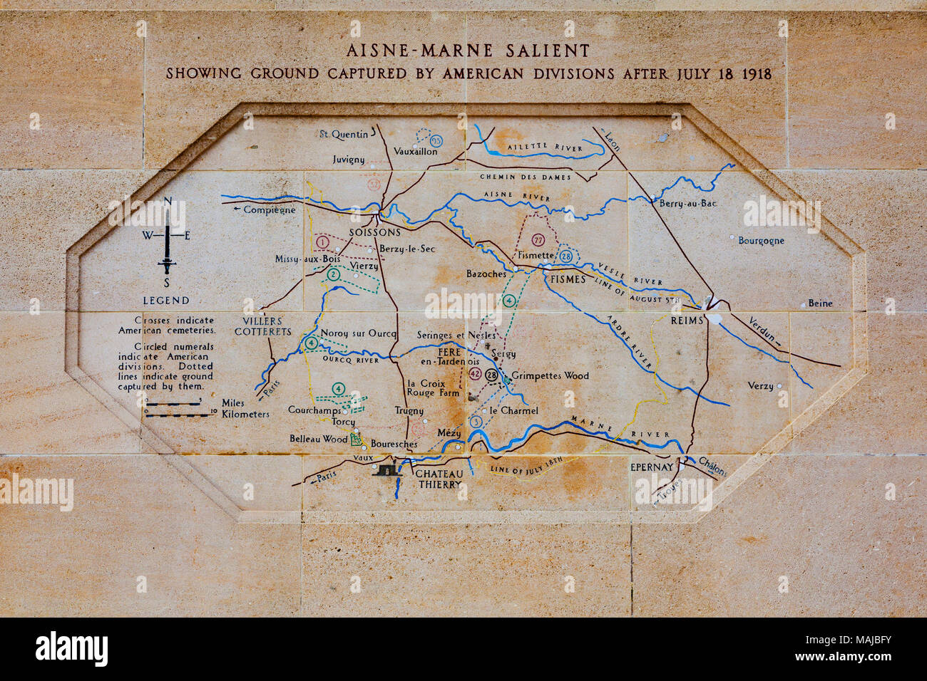 The Château-Thierry American Monument - map for the battlefields - Stock Image
