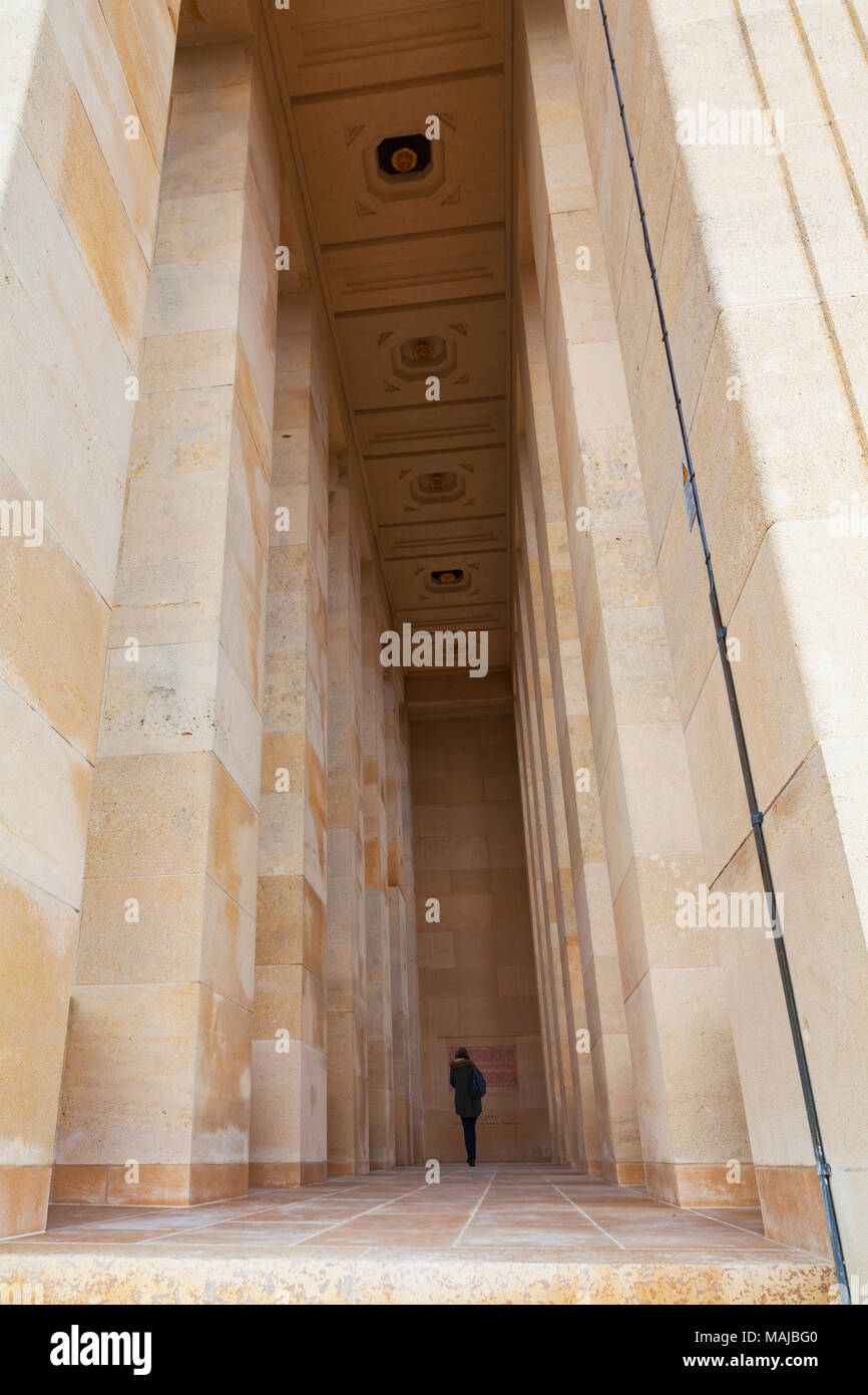 The Château-Thierry American Monument - interior. A woman stands inside to provide perspective - Stock Image