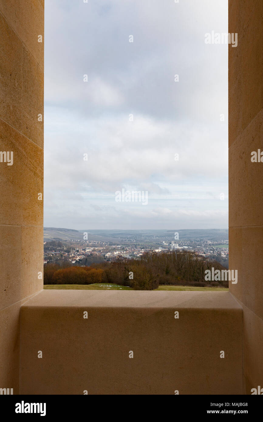The Château-Thierry American Monument - interior, overlooking the town of Château-Thierry - Stock Image