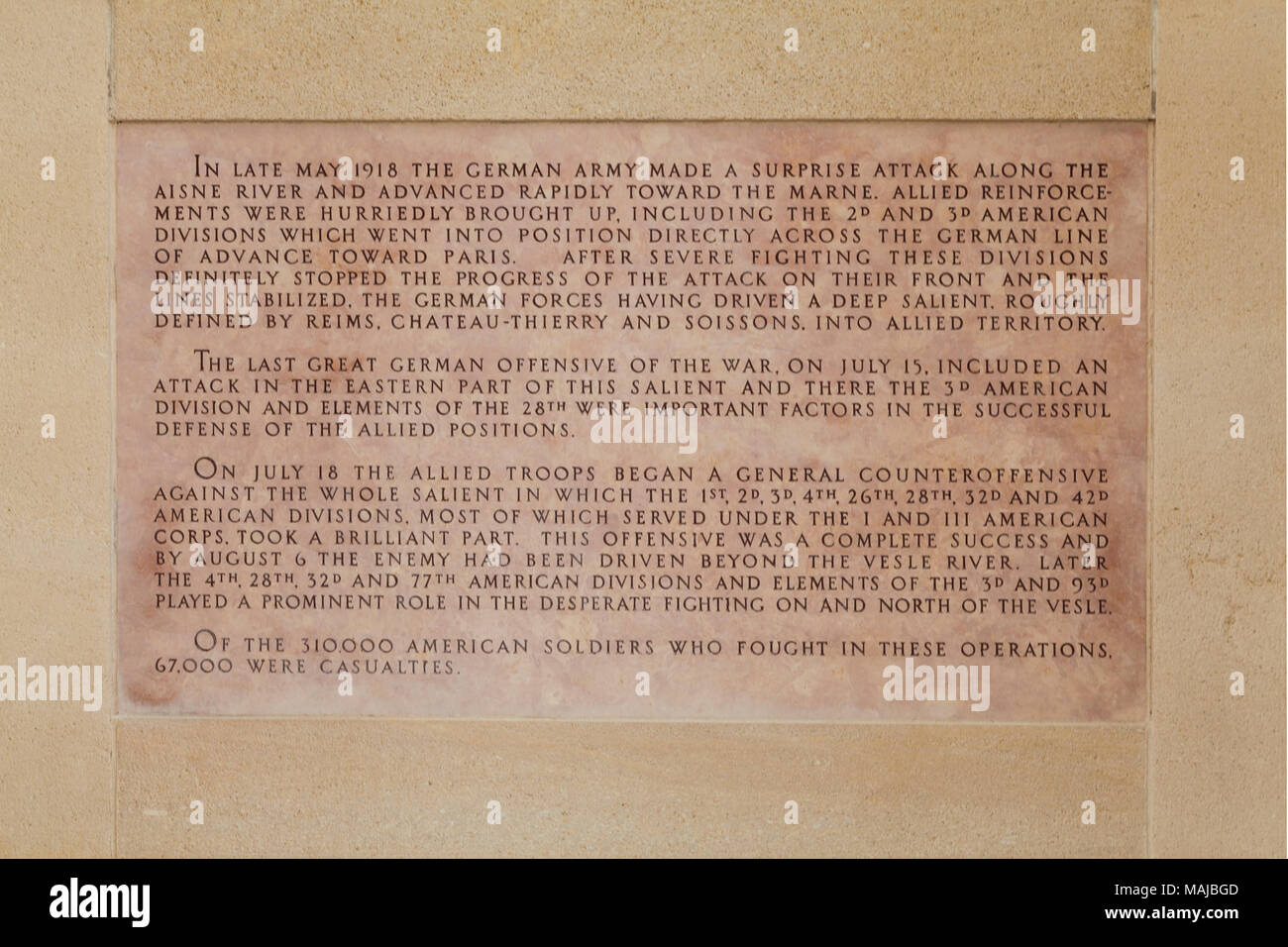 The Château-Thierry American Monument - dedication in English language. - Stock Image