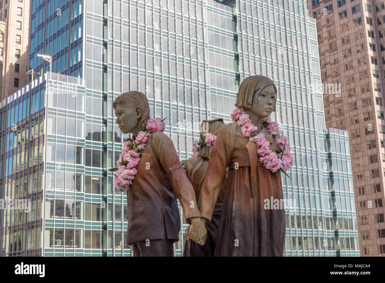 Women's Column of Strength, comfort women memorial by Steven Whyte (2017), St. Mary's Square, San FranciscoStock Photo