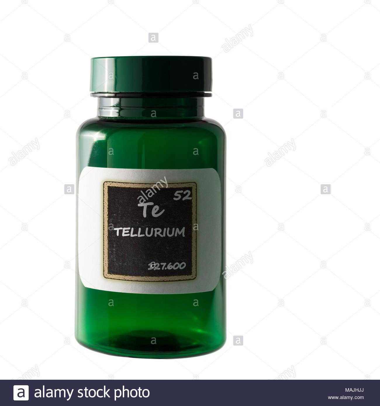 Tellurium Periodic Table Details Shown On Bottle Label Stock Photo