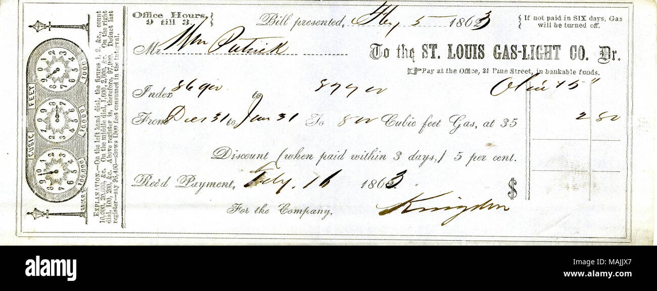 For Payment Of A Gas Bill. Title: Receipt For Payment Of $2.80 Received By  The St. Louis Gas Light Co. [from The Old Guard (St. Louis, Mo.