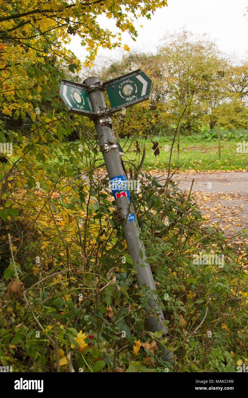 Wonky Suffolk Coastal signpost ... a bit like the council really - Stock Image