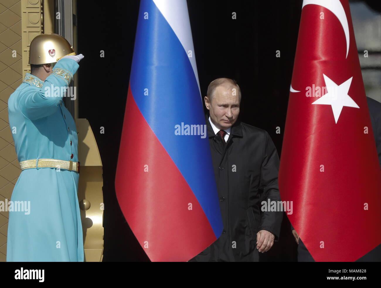 Ankara, Turkey. 03rd Apr, 2018. ANKARA, TURKEY - APRIL 3, 2018: Russia's President Vladimir Putin (R) during a welcome ceremony by Turkey's Presidential Palace. Mikhail Metzel/TASS Credit: ITAR-TASS News Agency/Alamy Live News - Stock Image