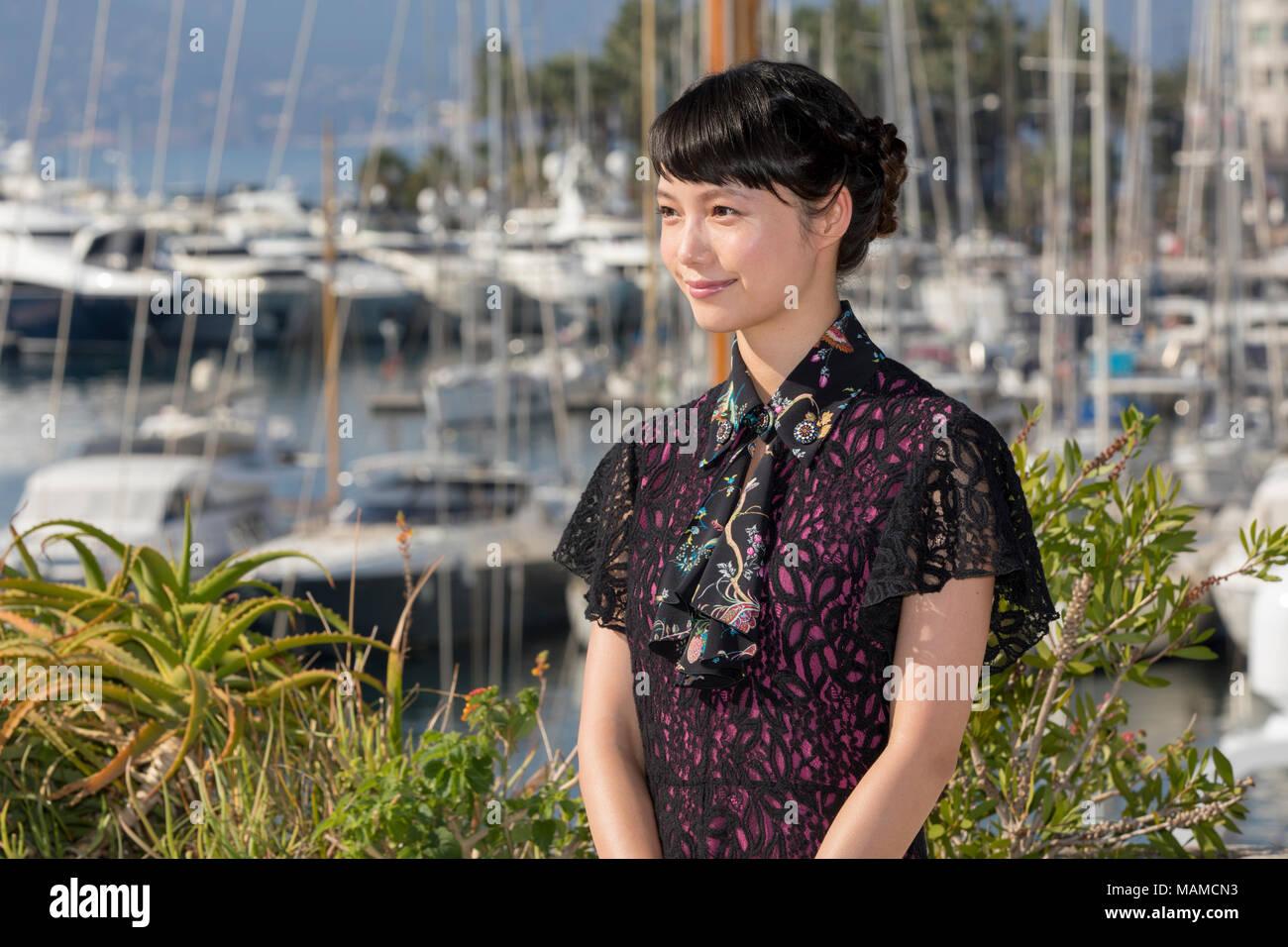 Aoi Miyazaki Stills at Hokusai No Musume Photocall at Mipcom 2016 in Cannes - Stock Image