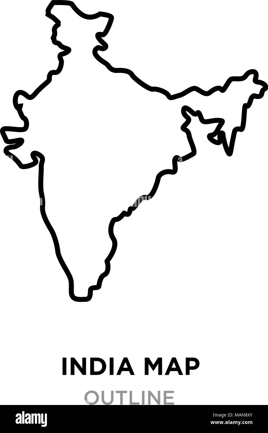 India Map Outline Png On White Background Vector Illustration Stock