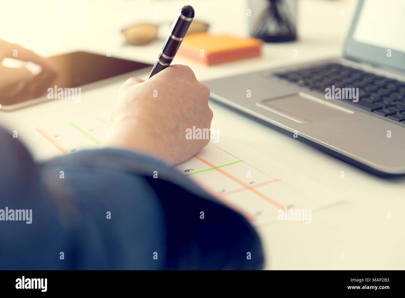 calendar planner agenda schedule concept woman working in her
