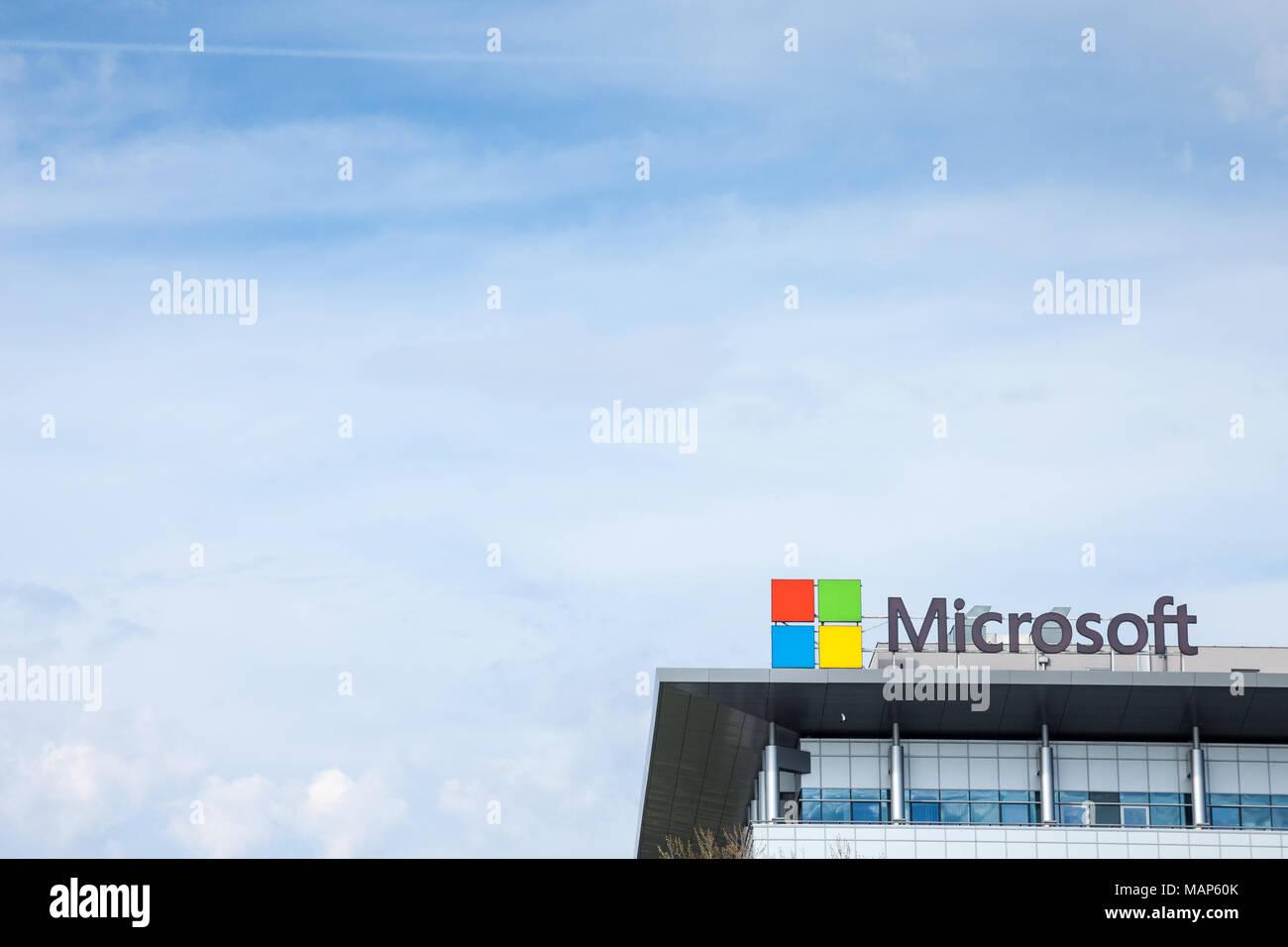 BELGRADE, SERBIA - MARCH 30, 2018: Microsoft logo on their main office for Serbia (Microsoft Development Center). Microsoft Corporation one of the mai - Stock Image