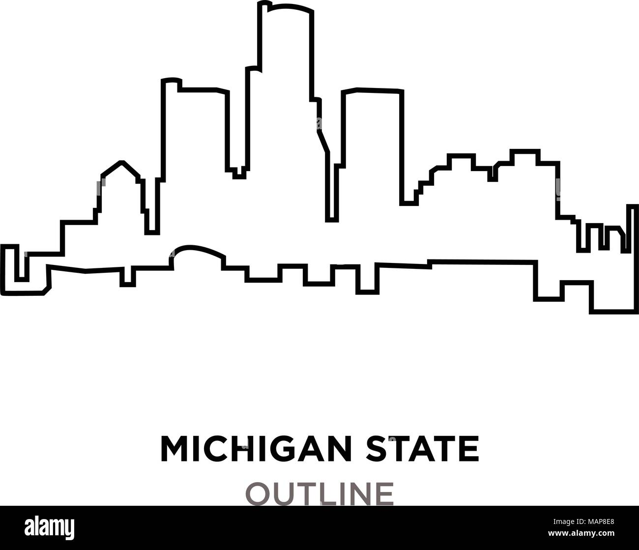 Michigan State Outline On White Background Stock Vector Art