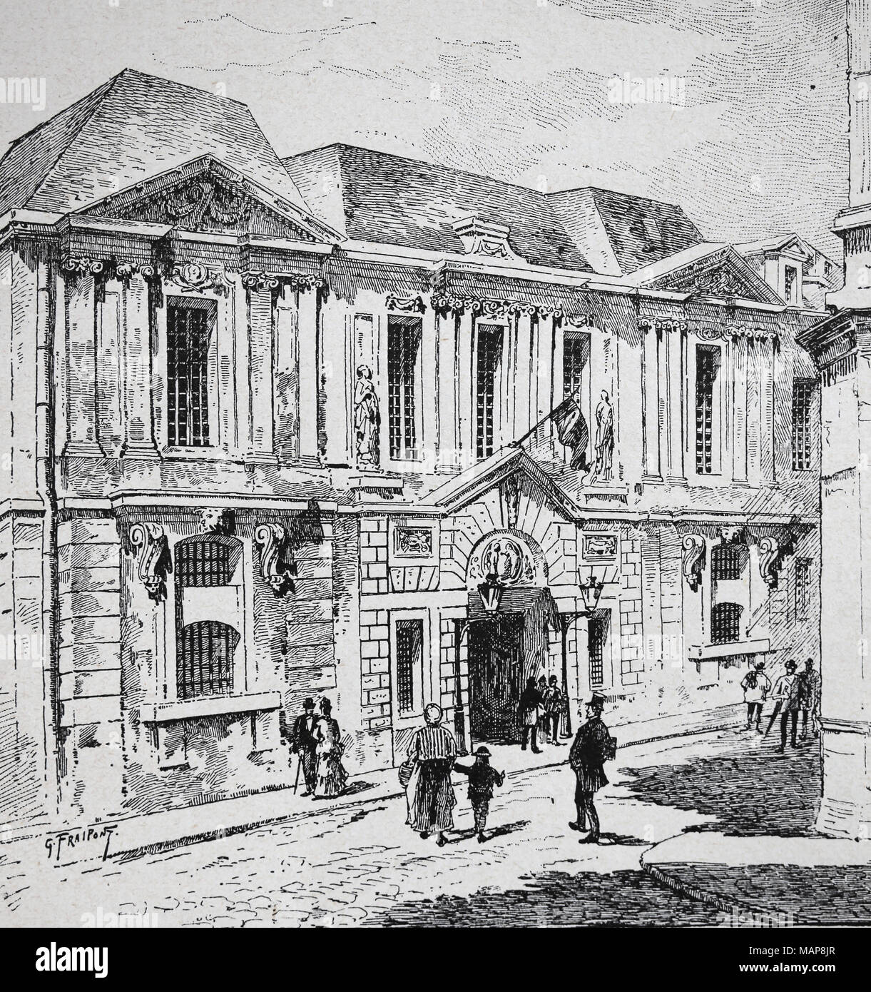 France. Paris. Historical archive at the Carnavalet hotel. Engraving, 19th century. - Stock Image