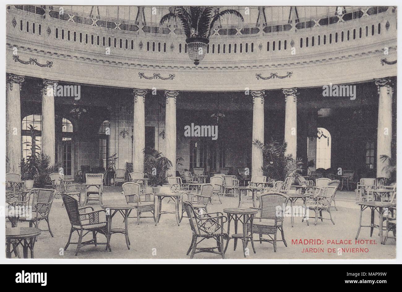 Palace Hotel, Madrid, Spain, Winter Garden / Rotonda, ca. 1912 - Stock Image