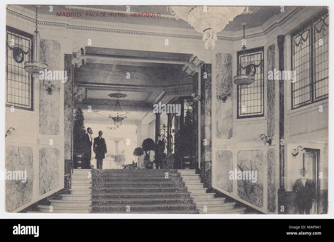 Palace Hotel, Madrid, Spain, Vestibule / Hall, ca. 1912 - Stock Image