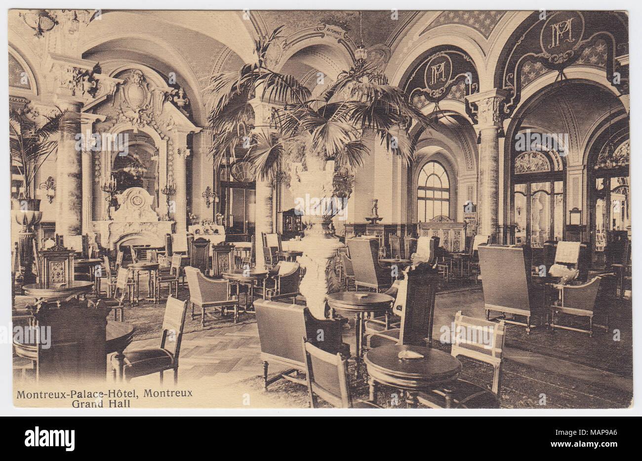 Palace Hotel, Montreux, Switzerland, Grand Hall - Stock Image