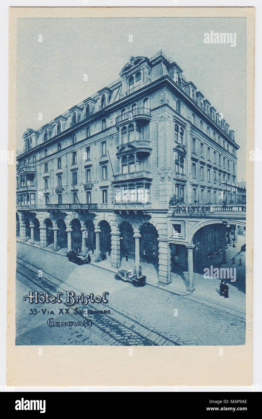 Hotel Bristol, Genoa, Italy - Stock Image