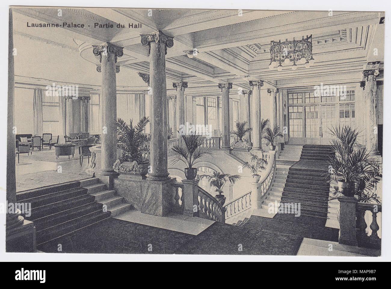 Palace Hotel, Lausanne, Switzerland, Hall - Stock Image