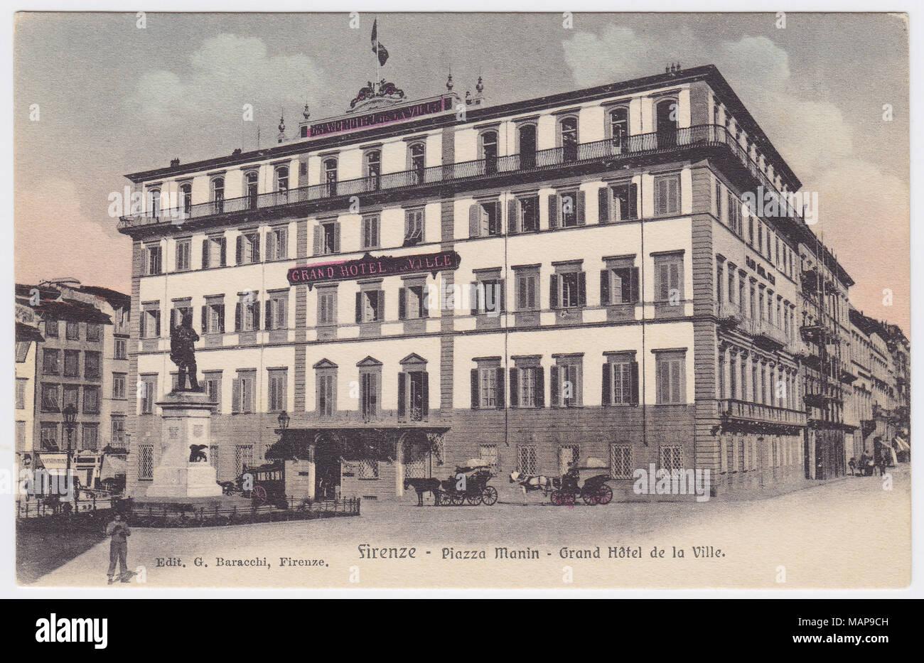 Grand Hotel de la Ville & Piazza Ognissanti, Florence, Italy - Stock Image