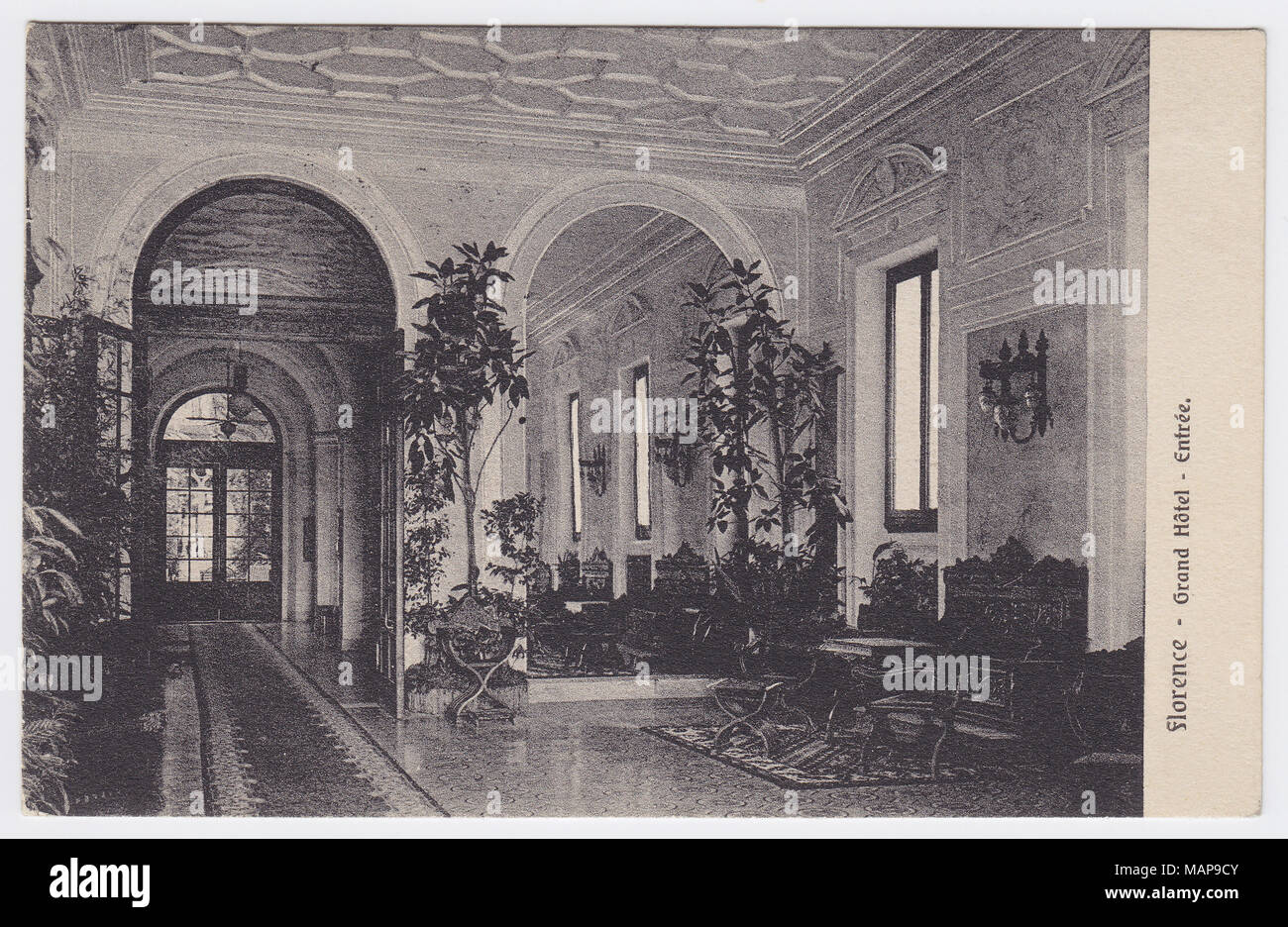 Grand Hotel, Florence, Italy, Entrance / Hall - Stock Image