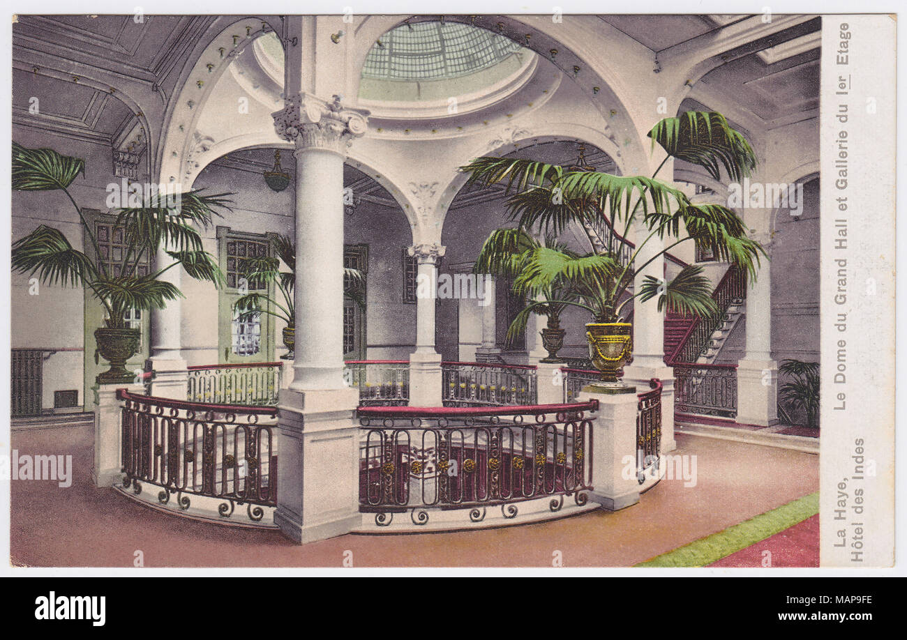 Hotel Des Indes, The Hague, Netherlands, Grand Hall Dome / 1st Floor Gallery, ca. 1907 - Stock Image
