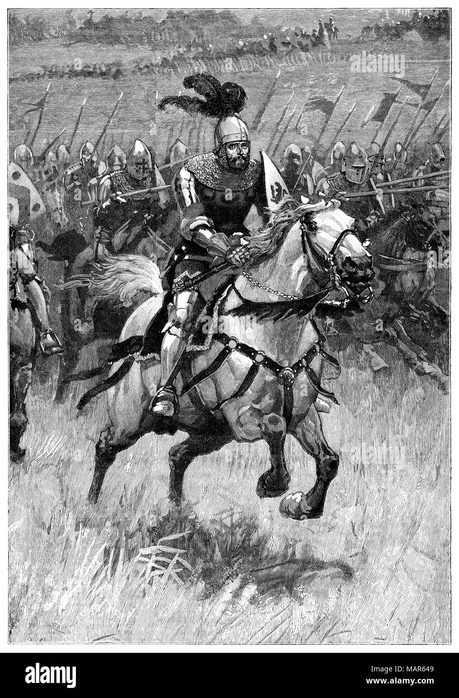1891 engraving by H. M. Paget to illustrate the poem Charge! by Robert Richardson in The Boy's Own paper. - Stock Image