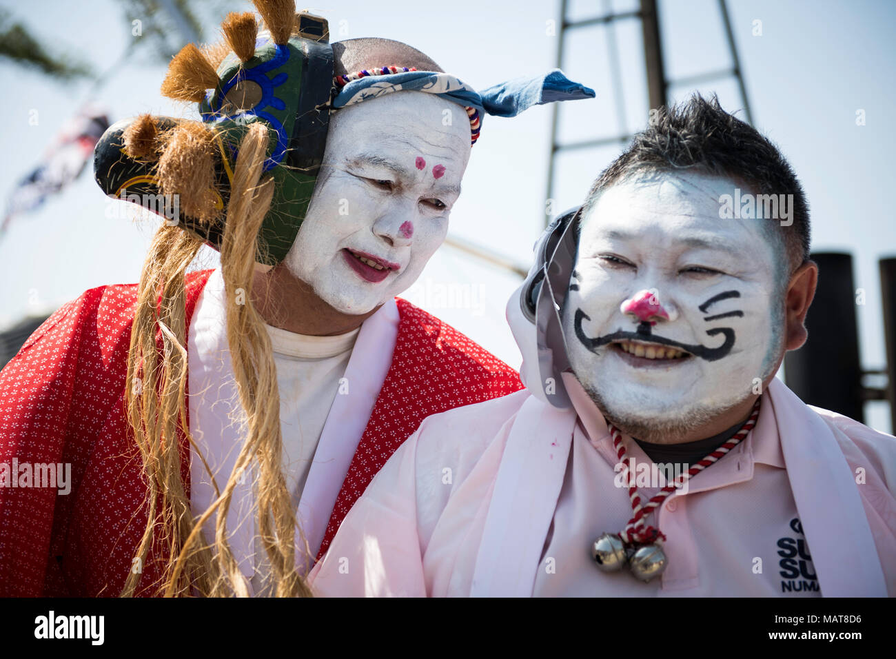 NUMAZU, JAPAN - APRIL 4: Local fishermen with their faces painted posed for a photo during Ose Matsuri/festival held at the Uchiura fishing port, in Osezaki district of Numazu, Shizuoka Prefecture on April 4, 2018, Japan.  good catches. The custom is said originated from a local Credit: Aflo Co. Ltd./Alamy Live News - Stock Image