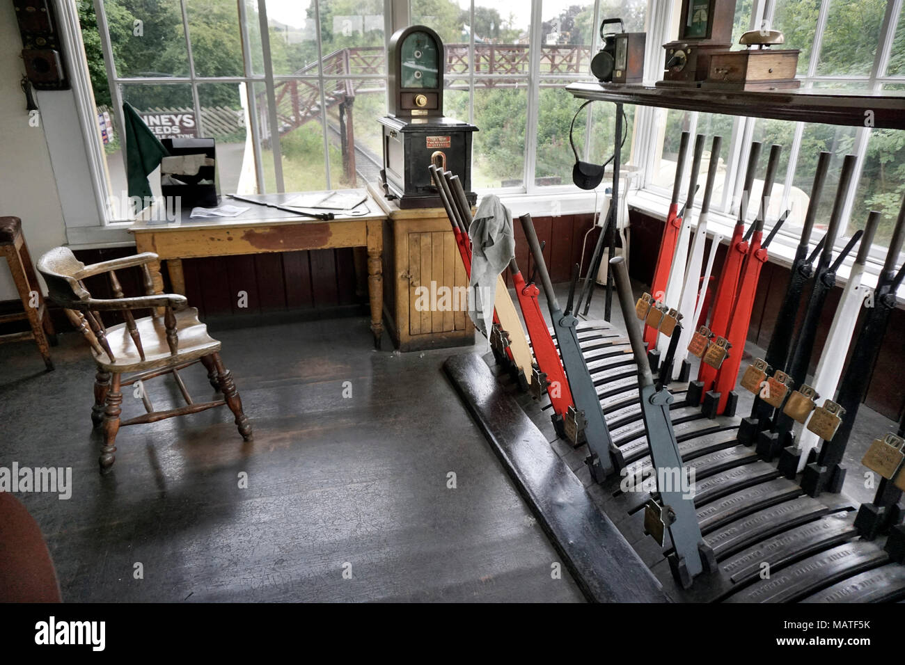 interior of old railway signal box - Stock Image