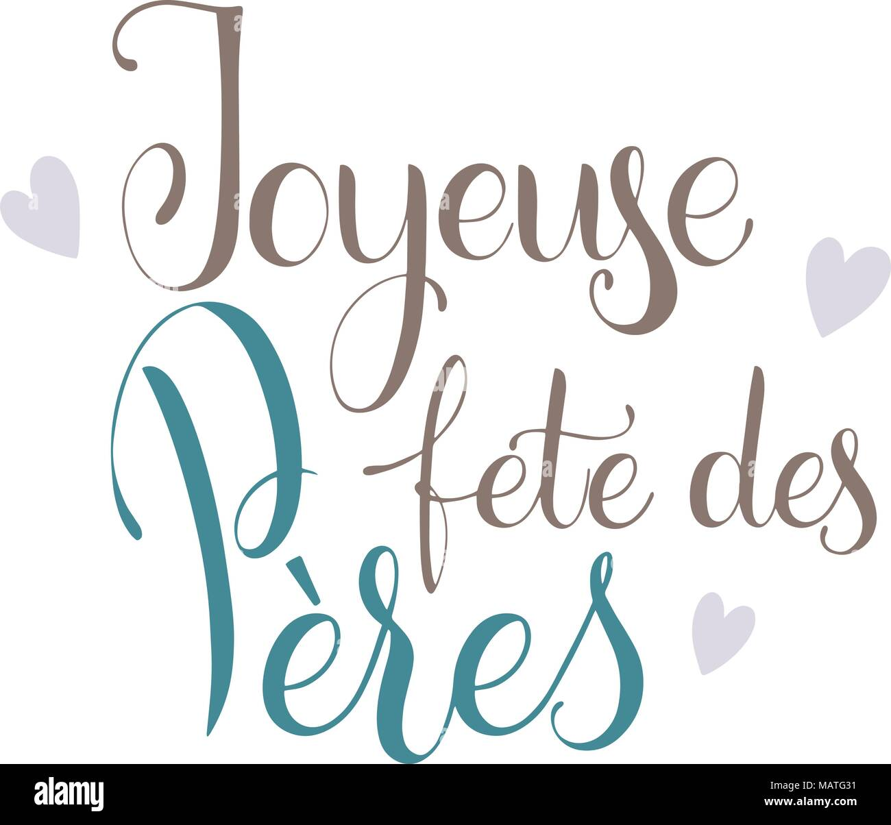 Happy Father Day Lettering Happy Father Day On French Greeting