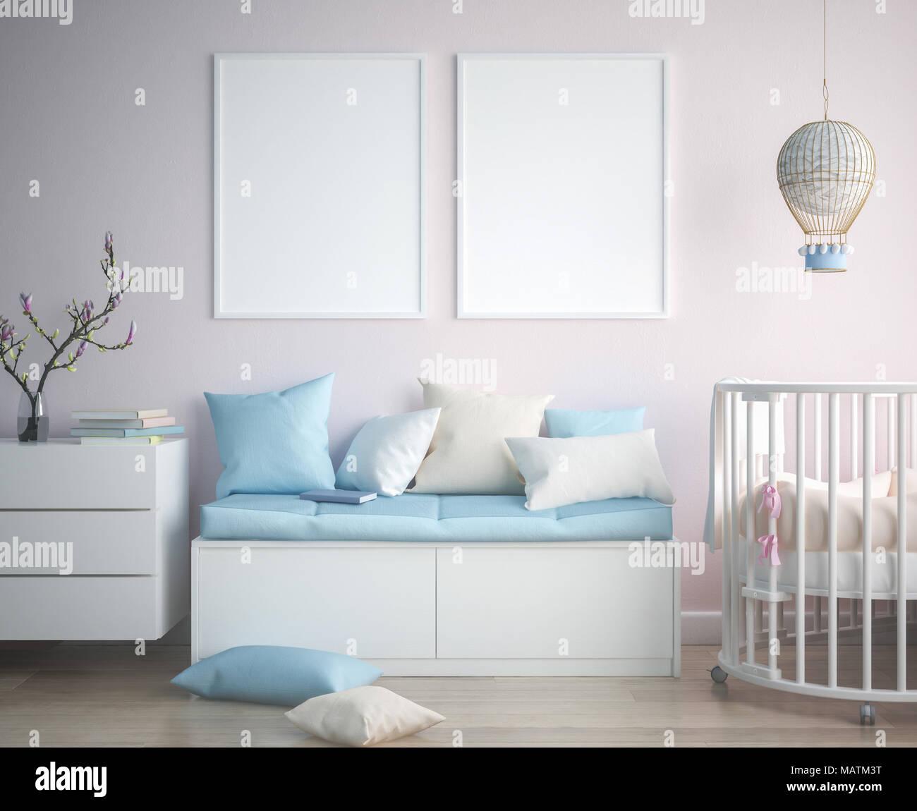 Mock up poster frame in children room, scandinavian style interior ...